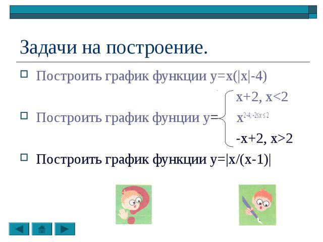 Задачи на построение. Построить график функции y=x(|x|-4) x+2, x2 Построить г...