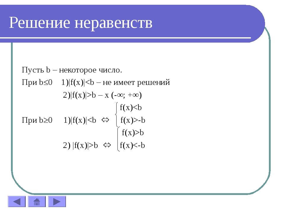 Решение неравенств Пусть b – некоторое число. При b≤0 1)|f(x)|b – x (-∞; +∞)...