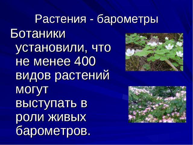 Растения - барометры Ботаники установили, что не менее 400 видов растений мог...