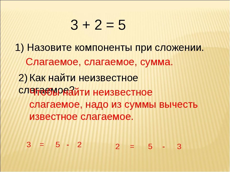 3 + 2 = 5 1) Назовите компоненты при сложении. Слагаемое, слагаемое, сумма. 2...