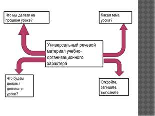 Универсальный речевой материал учебно-организационного характера Что мы делал