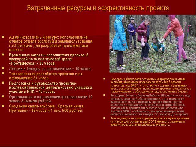 Затраченные ресурсы и эффективность проекта Административный ресурс: использо...