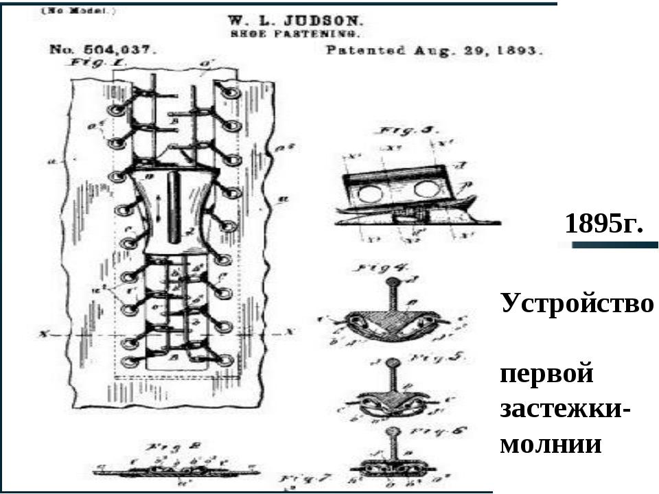 Устройство первой застежки-молнии 1895г.