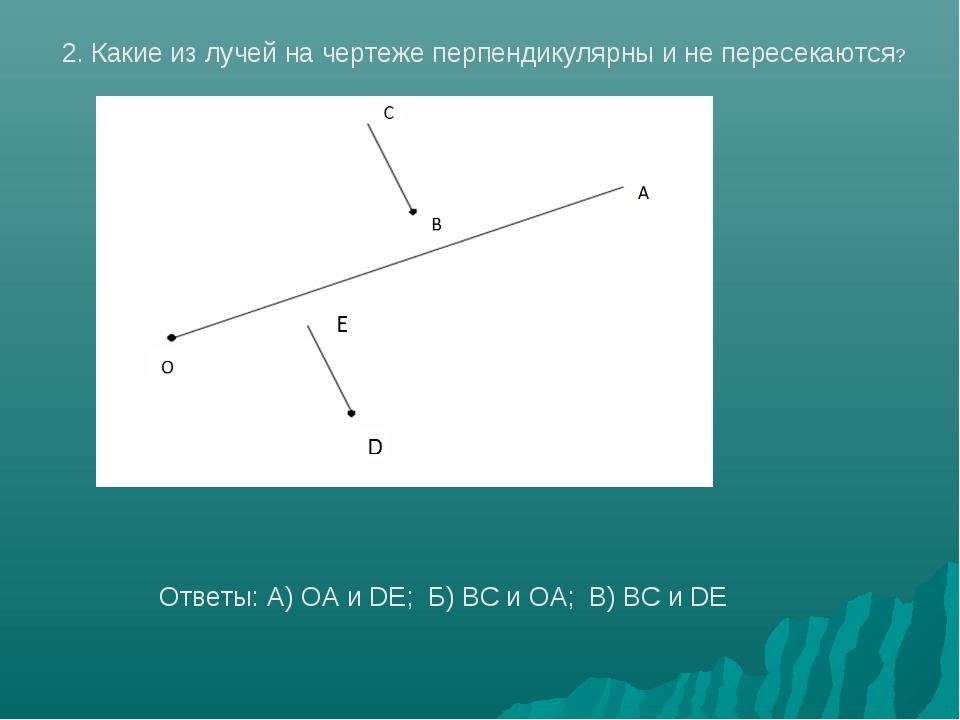 2. Какие из лучей на чертеже перпендикулярны и не пересекаются? Ответы: А) OA...