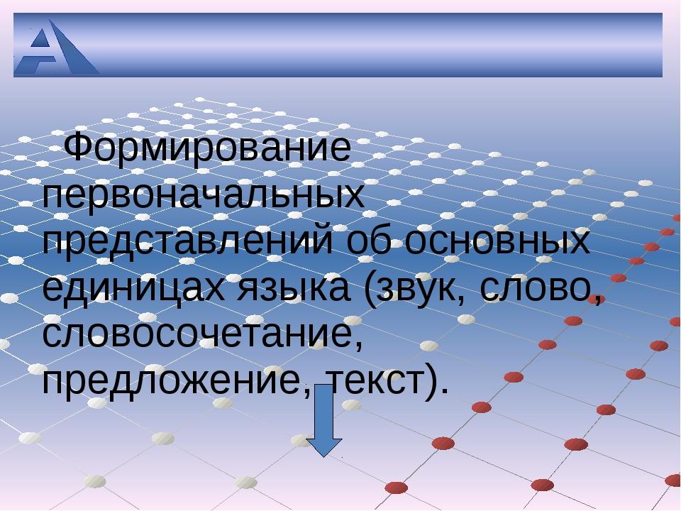 Формирование первоначальных представлений об основных единицах языка (звук,...