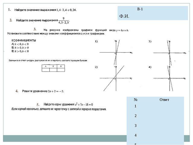 1. 2. 3. 4. 5. № Ответ 1 2 3 4 5 В-1 Ф.И.