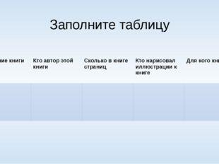 Заполните таблицу Название книги Кто автор этойкниги Сколько в книгестраниц К