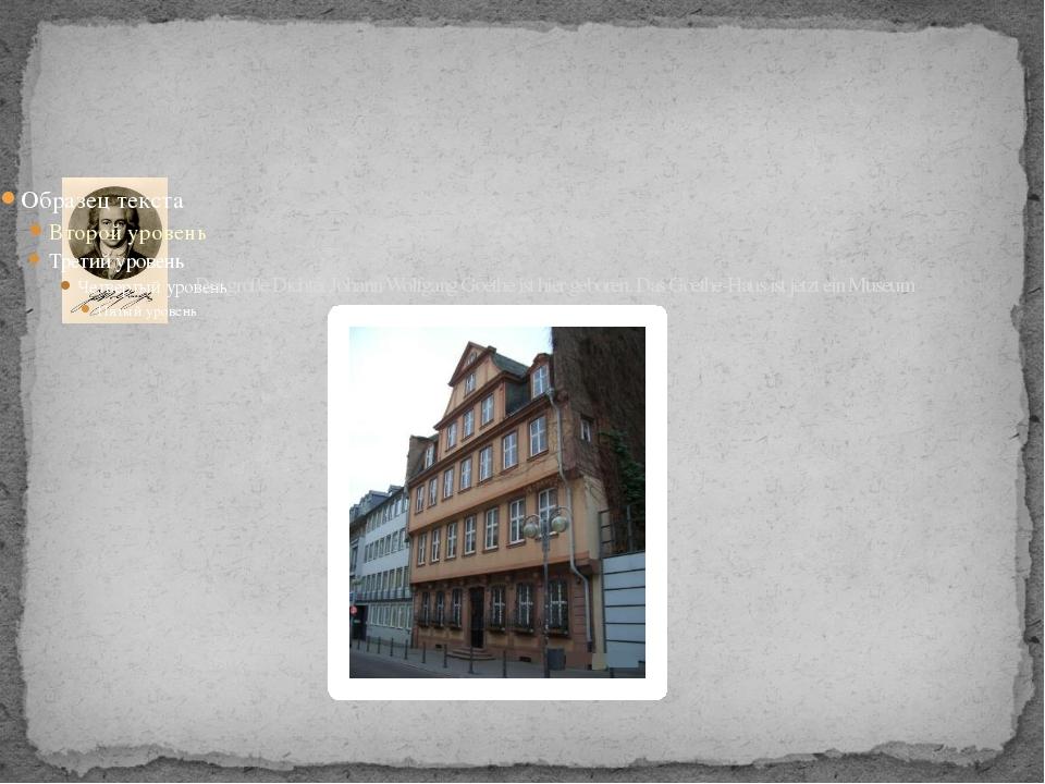 Der große Dichter Johann Wolfgang Goethe ist hier geboren. Das Goethe-Haus is...