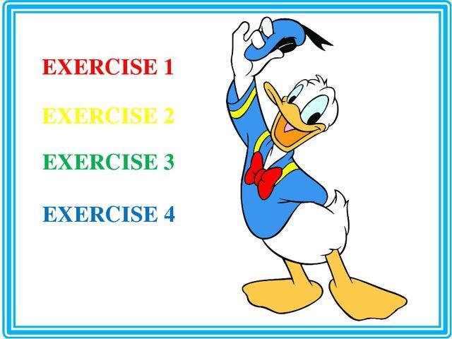 EXERCISE 1 EXERCISE 2 EXERCISE 3 EXERCISE 4