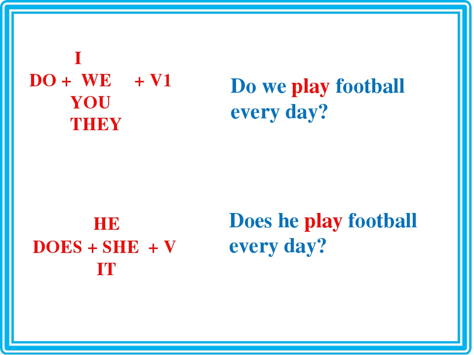 I DO + WE + V1 YOU THEY HE DOES + SHE + V IT Do we play football every day?...