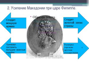 2. Усиление Македонии при царе Филиппе. Создал золотой запас страны Расширил