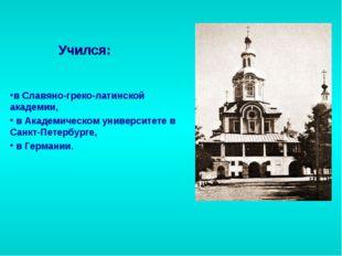 в Славяно-греко-латинской академии, в Академическом университете в Санкт-Пете