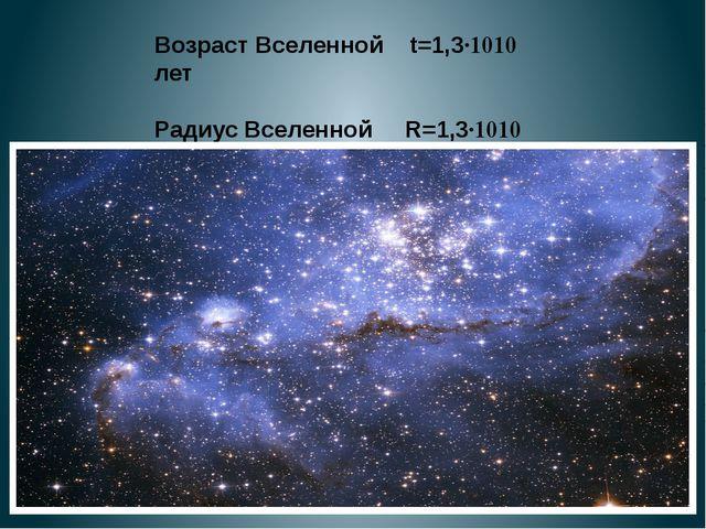 Возраст Вселенной t=1,3·1010 лет Радиус Вселенной R=1,3·1010 св.л. 5