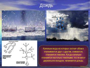 Дождь Капельки воды из которых состоит облако сталкиваются друг с другом, сли