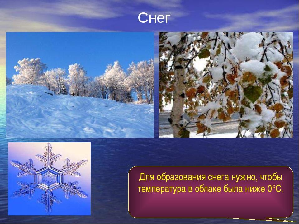 Снег Для образования снега нужно, чтобы температура в облаке была ниже 0°С.