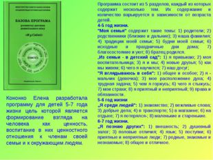Программа состоит из 5 разделов, каждый из которых содержит несколько тем. Их