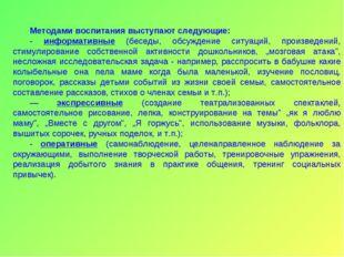 Методами воспитания выступают следующие: - информативные (беседы, обсуждение