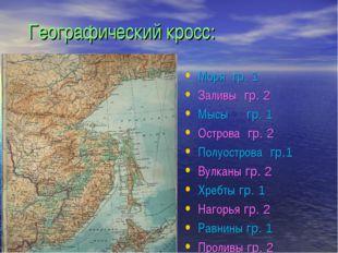 Географический кросс: Моря гр. 1 Заливы гр. 2 Мысы гр. 1 Острова гр. 2 Полуос