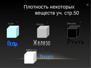 7,8 г/см 13,6 г/см 0,0013 г/см 1 г/см 3 3 3 3 10 Плотность некоторых веществ