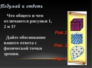 Рис. 3 Рис. 2 Рис.1 Что общего и чем отличаются рисунки 1, 2 и 3? Дайте обосн