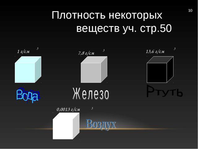 7,8 г/см 13,6 г/см 0,0013 г/см 1 г/см 3 3 3 3 10 Плотность некоторых веществ...