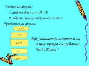 Словесная форма: 1. Задать два числа А и В 2. Найти сумму этих чисел S=А+В