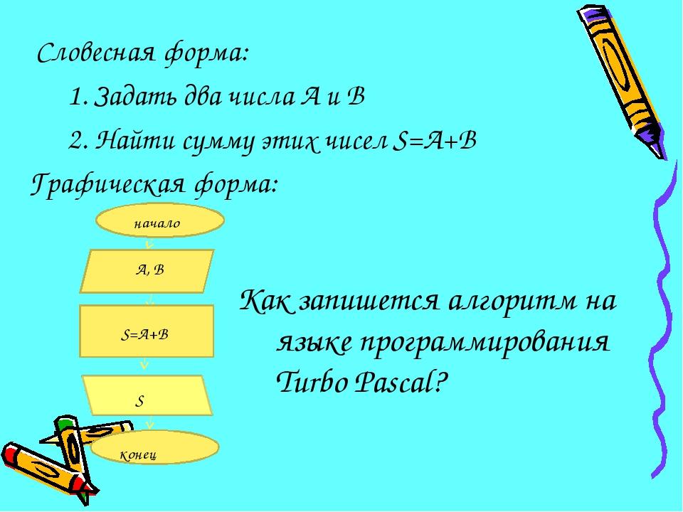 Словесная форма: 1. Задать два числа А и В 2. Найти сумму этих чисел S=А+В...