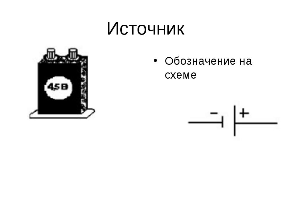Источник Обозначение на схеме