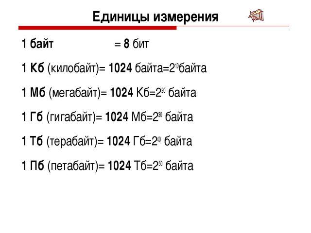 Единицы измерения 1 байт = 8 бит 1 Кб (килобайт)= 1024 байта=210байта 1 Мб...