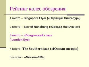 Рейтинг колес обозрения: 1 место – Singapore Flyer («Парящий Сингапур») 2 мес