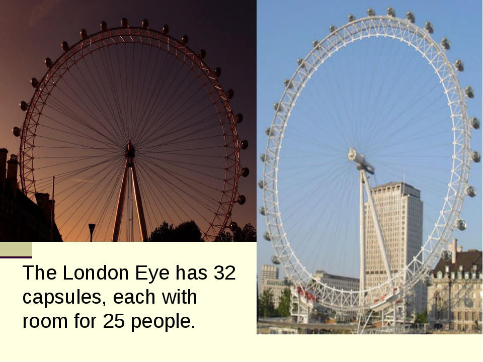 The London Eye has 32 capsules, each with room for 25 people.