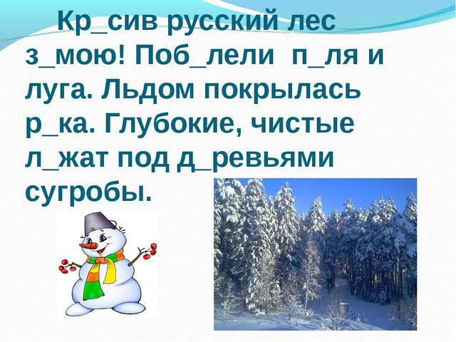 Кр_сив русский лес з_мою! Поб_лели п_ля и луга. Льдом покрылась р_ка. Глубок...
