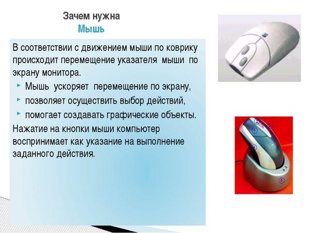 Зачем нужна Мышь В соответствии с движением мыши по коврику происходит переме...