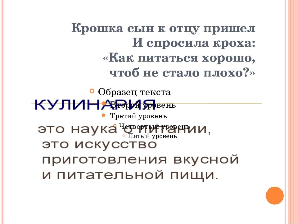 Крошка сын к отцу пришел И спросила кроха: «Как питаться хорошо, чтоб не ста...