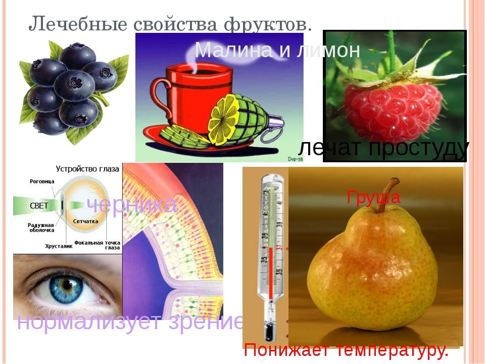 черника нормализует зрение Лечебные свойства фруктов. лечат простуду Малина...