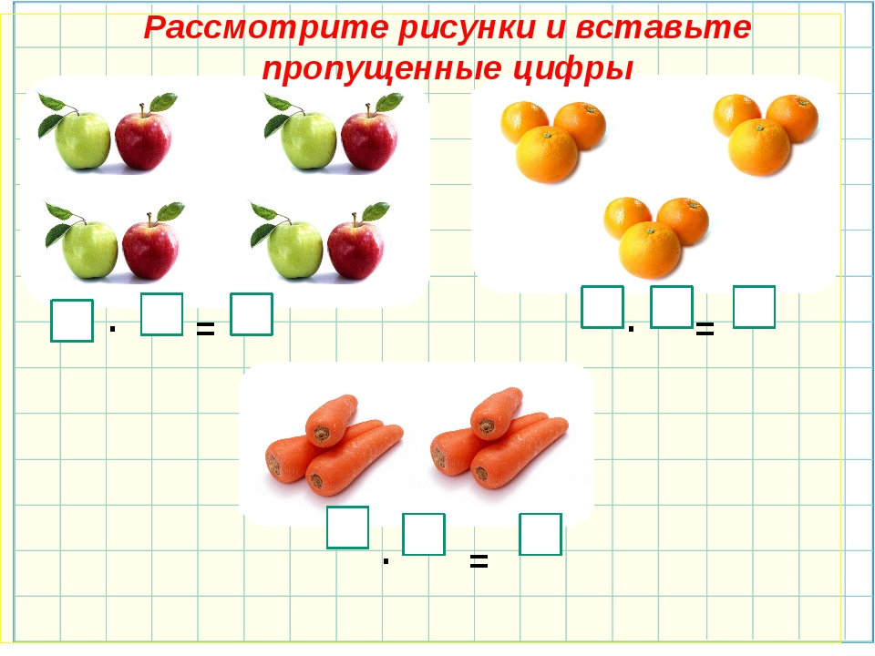 · = · = · = 3 Рассмотрите рисунки и вставьте пропущенные цифры 2