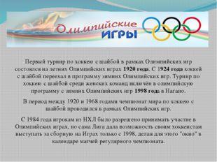 Первый турнир по хоккею с шайбой в рамках Олимпийских игр состоялся на летни