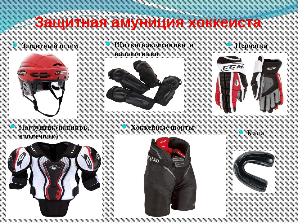 Защитная амуниция хоккеиста Защитный шлем Щитки(наколенники и налокотники Наг...
