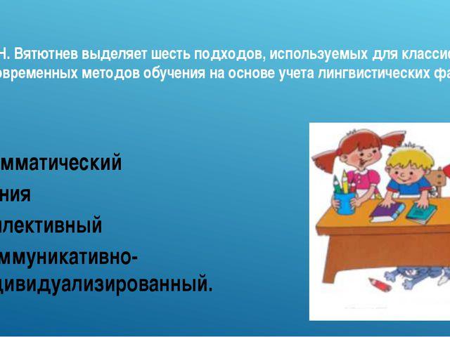 М.Н. Вятютнев выделяет шесть подходов, используемых для классификации совреме...