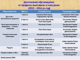 Достижения обучающихся в городских выставках и конкурсах (2013 – 2014 уч.год)