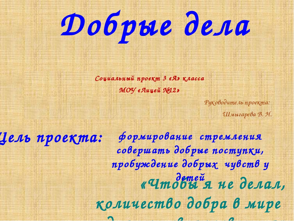 Добрые дела Социальный проект 3 «А» класса МОУ «Лицей №12» Руководитель проек...