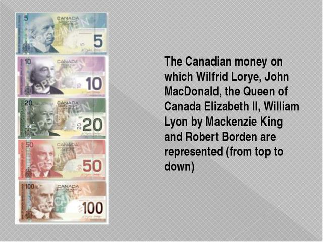 The Canadian money on which Wilfrid Lorye, John MacDonald, the Queen of Canad...