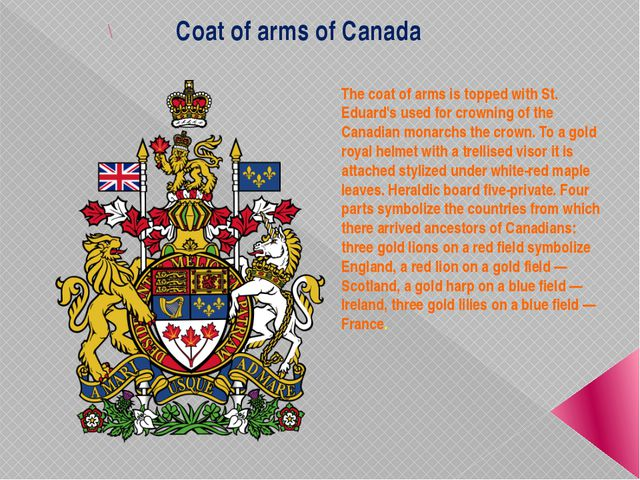 \ Coat of arms of Canada The coat of arms is topped with St. Eduard's used fo...