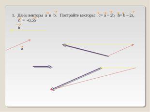 Даны векторы a и b. Постройте векторы: c= а + 2b, h= b – 2а, n = -0,5b а b