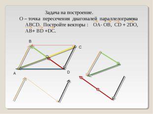 Задача на построение. О – точка пересечения диагоналей параллелограмма АВСD.