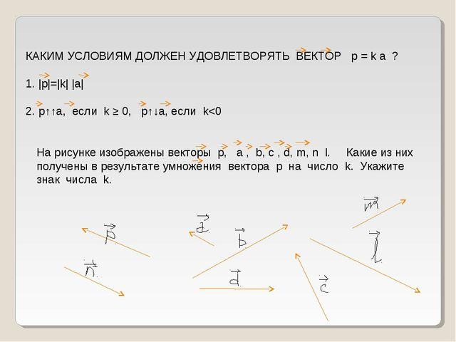 КАКИМ УСЛОВИЯМ ДОЛЖЕН УДОВЛЕТВОРЯТЬ ВЕКТОР p = k а ? 1.  p = k   a  2. p↑↑a,...