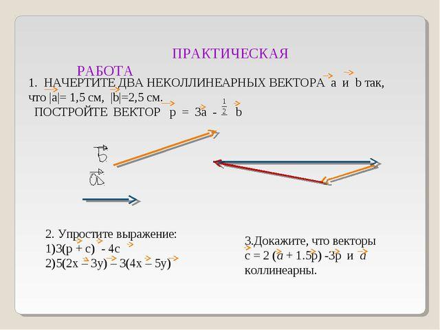 ПРАКТИЧЕСКАЯ РАБОТА 1. НАЧЕРТИТЕ ДВА НЕКОЛЛИНЕАРНЫХ ВЕКТОРА a и b так, что  ...