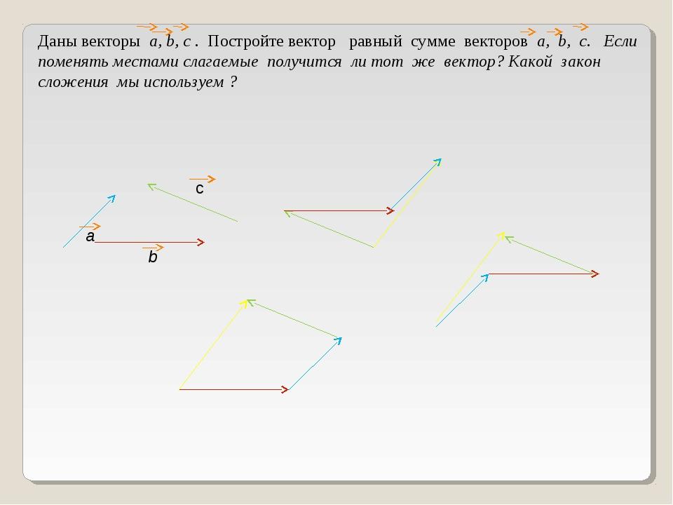 Даны векторы а, b, c . Постройте вектор равный сумме векторов а, b, c. Если п...