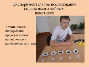 Экспериментальное исследование содержимого чайных пакетиков 1 этап- анализ ин