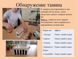 Обнаружение танина  К заварке пакетированного чая добавим 40 мл воды, затем